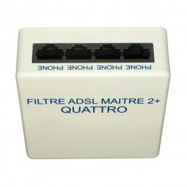 Quadrupleur ADSL filtre maître - 4 sorties RJ45 tél + 1 sortie RJ45 modem