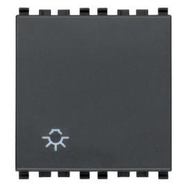 Poussoir 1P NO 10A symb.lumière 2M gris