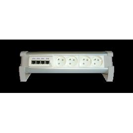Boîtier bureautique 2 prises 16A, 2 RJ45 et 1 chargeur double USB A
