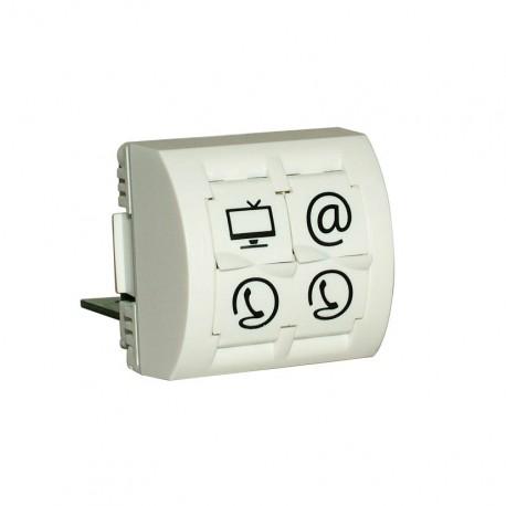 Plastron format 45x45 - 4 sorties : TV-Ethernet-téléphones RJ45 et RJ11