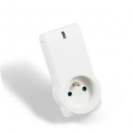 Prise plug 16A - mesure conso intégrée - blanc