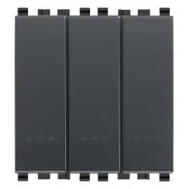 Trois interrupteurs 1P 20AX gris