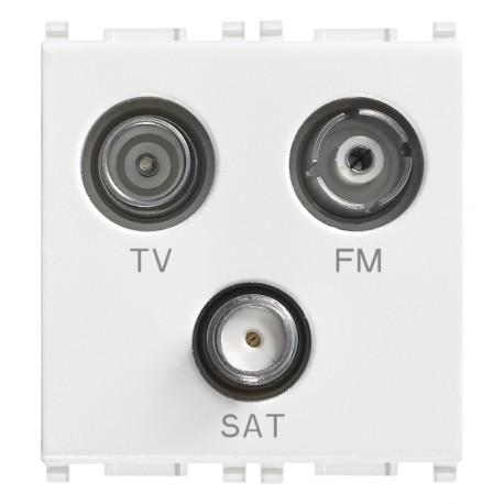 Prise TV-FM-SAT directe 3sorties blanc
