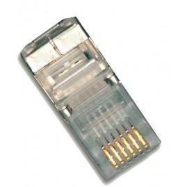 Connecteur plug RJ12 6P6C - rond - blindé