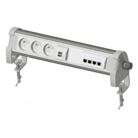 PDU bureautique connecté - 3PC, 1 chargeur double USB, 1 switch Ethernet 4 ports