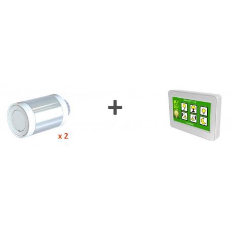 Kit chauffage - 2 vannes thermostatiques + 1 thermostat Majordome