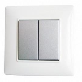 Interrupteur Plana double - touche silver
