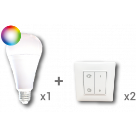Kit ampoule connectée : 1 ampoule UBIFL010 + 2 inter VITB1002RGBW
