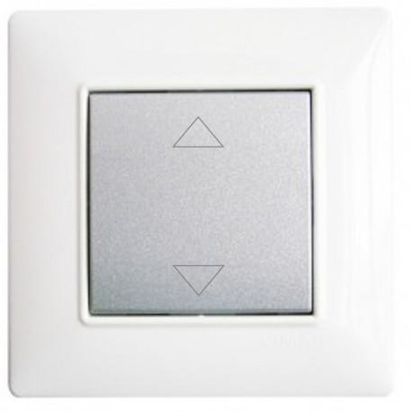 Interrupteur sans fil Plana simple volet roulant - couleur silver - avec plaque